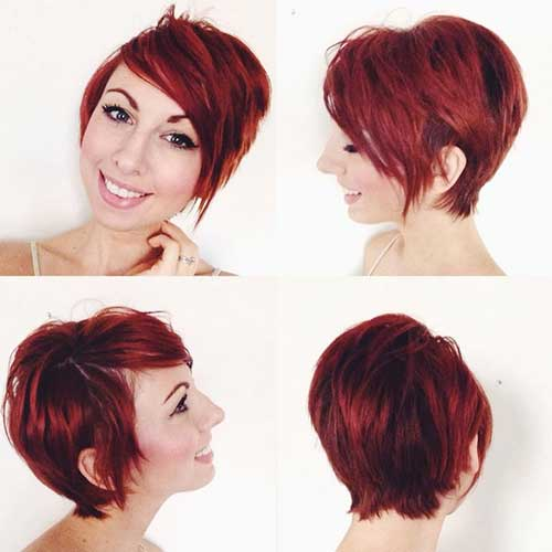 Long Red Pixie Cut