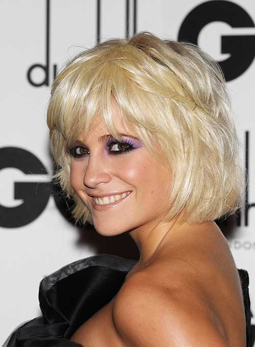 Messy Bangs on Blonde Bob Haircut