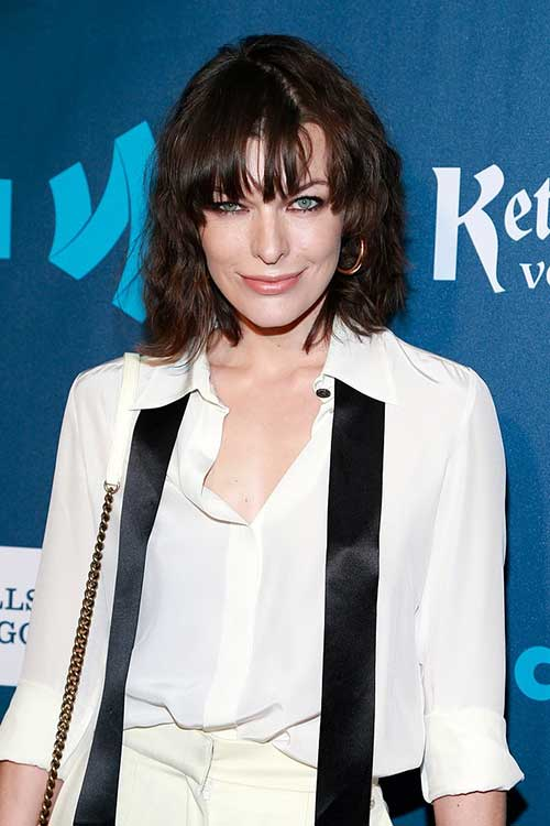Milla Jovovich New Hair with Bangs