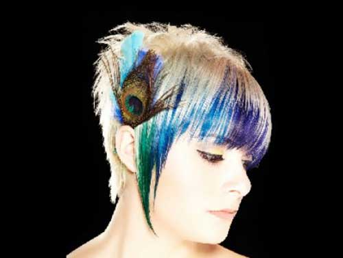 Peacock Hair Color on Short Haircut
