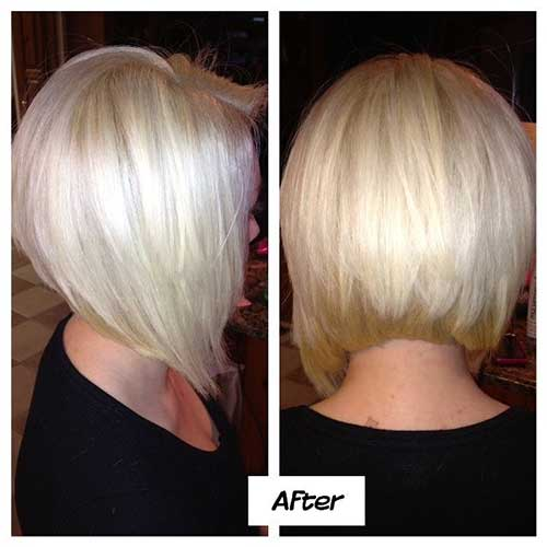 Nice Platinum Stacked Bob Hairstyle