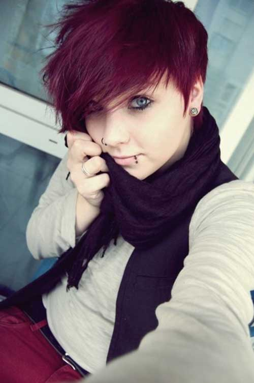 Pretty Red Dyed Pixie Style