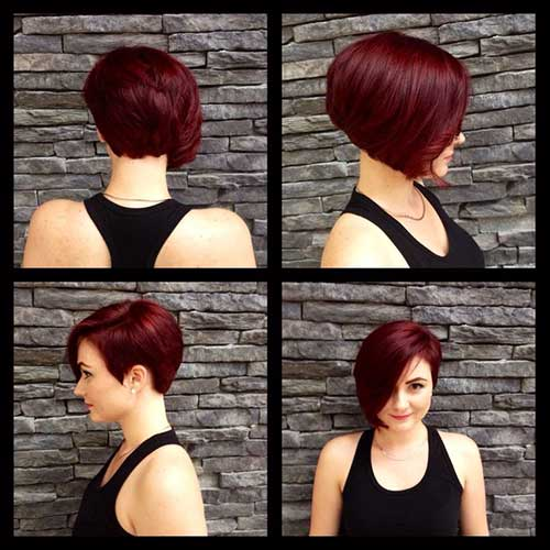 Red Asymmetric Bob Haircuts