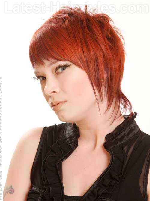 Red Colored Layered Long Pixie Cut