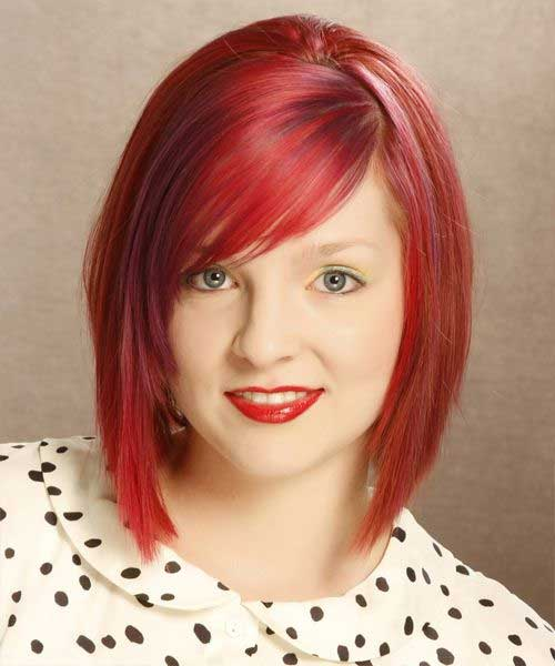 Lovely Red Inverted Bob Haircut