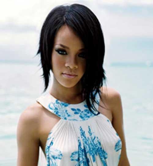 Rihanna Asymmetrical Bob Hairstyles