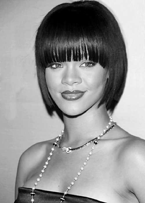 Rihanna Modern Haircut with Bangs