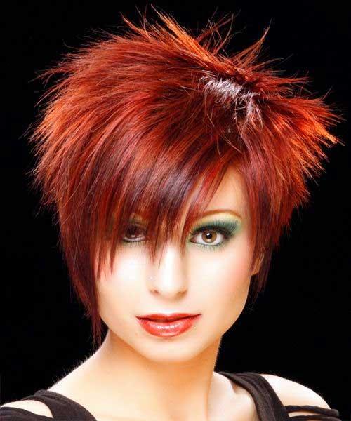 Red Colored Sassy Short Haircuts 2015