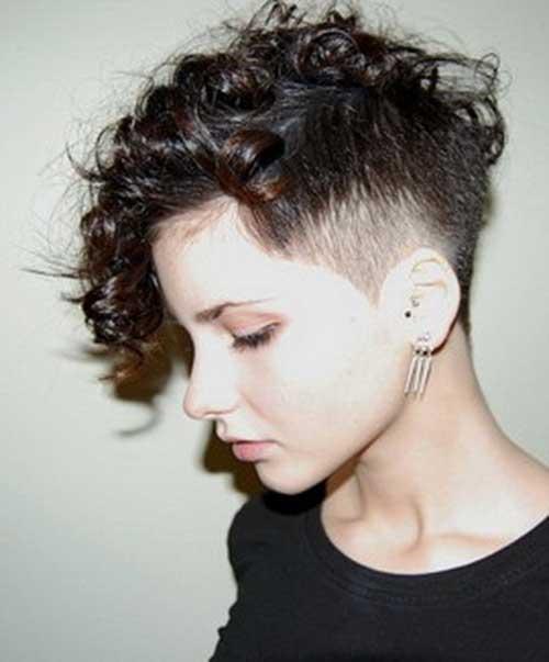Side Shaved Short Cuts for Curly Women Hair 2014