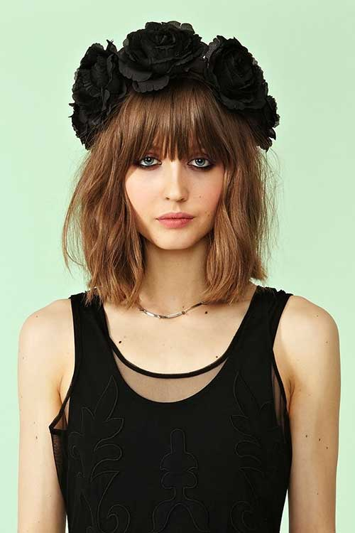 Bob Cut with Bangs Flower Headbands