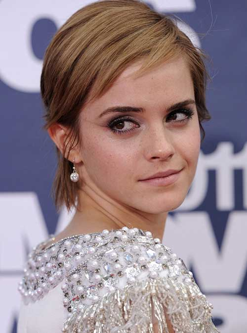 Emma Watson Pixie Hairstyle with Razored Bangs
