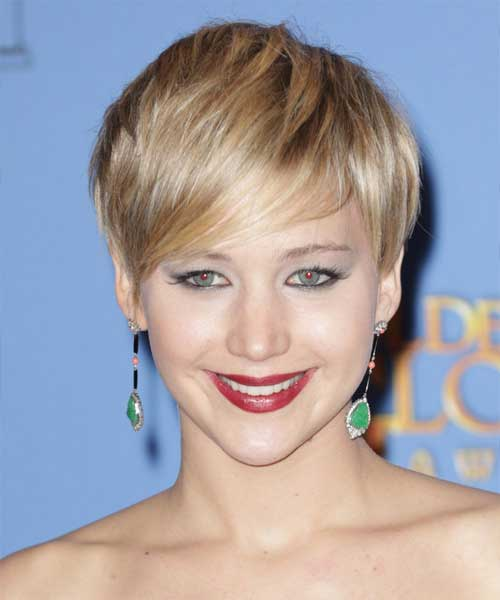 Jennifer Lawrence Short Hairstyles for Straight Hair