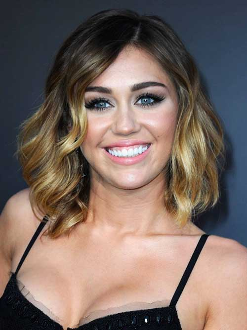 Miley Cyrus Short Wavy Hair Round Face