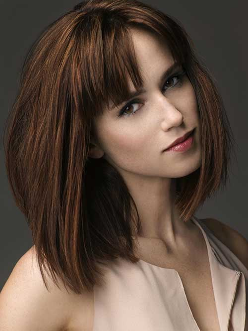 Brown Short to Medium Hair with Bangs