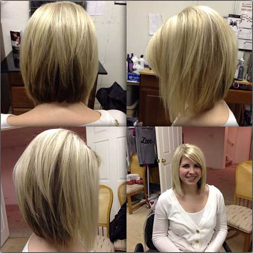 Blonde Layered Shoulder Length Angled Bob