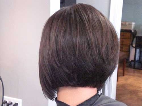 Simple Stacked Bob Dark Haircut