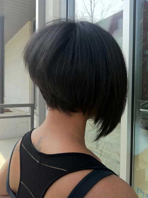 Stacked Asymmetrical Bob Back View