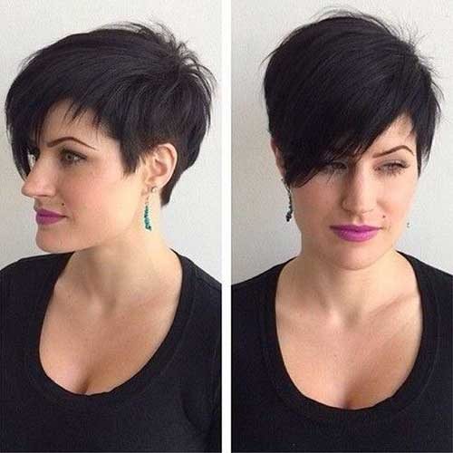Stylish Long Dark Pixie Haircuts