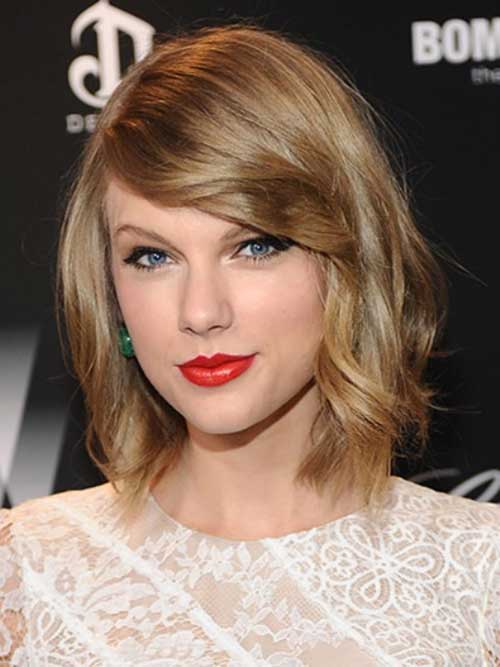 Taylor Swift Haircut with Side Long Bangs
