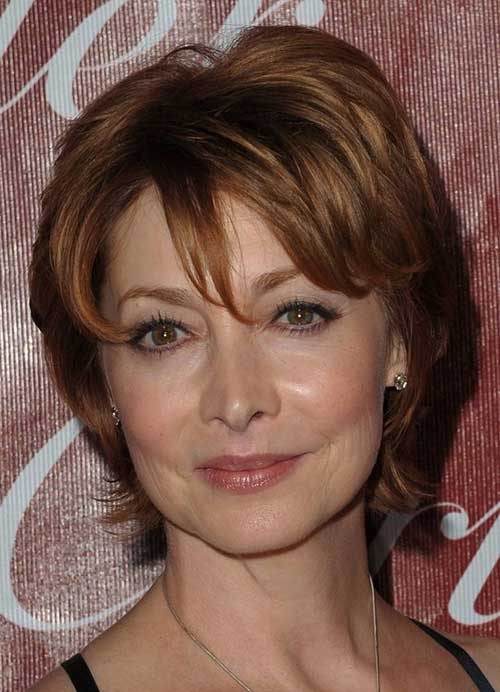 Short Bob Thin Bangs Hairstyles for Older Women