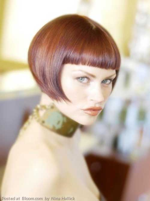 Blunt Brown Bob with Straight Bangs