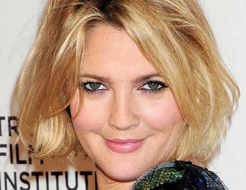 Drew Barrymore Haircut for Round Faces