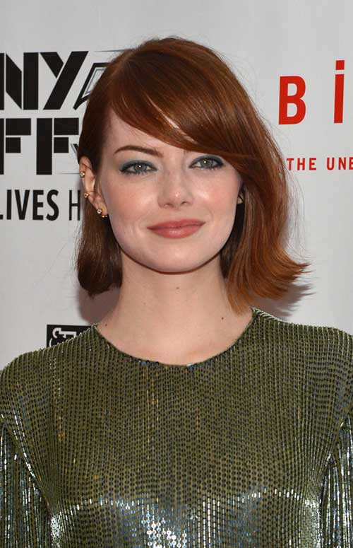 Emma Stone Hairstyles for Round Face