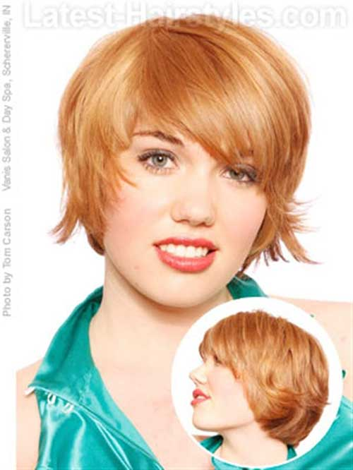 Layered Short Ginger Hair for Round Face