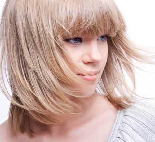 11. Long Layered Bob Hairstyle with Bangs for Fine Hair