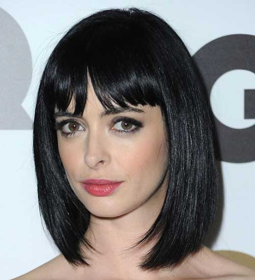 Nice Straight Dark Bob with Blunt Bangs