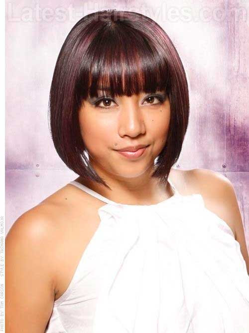 Short Bob Cut with Bangs for Round Faces
