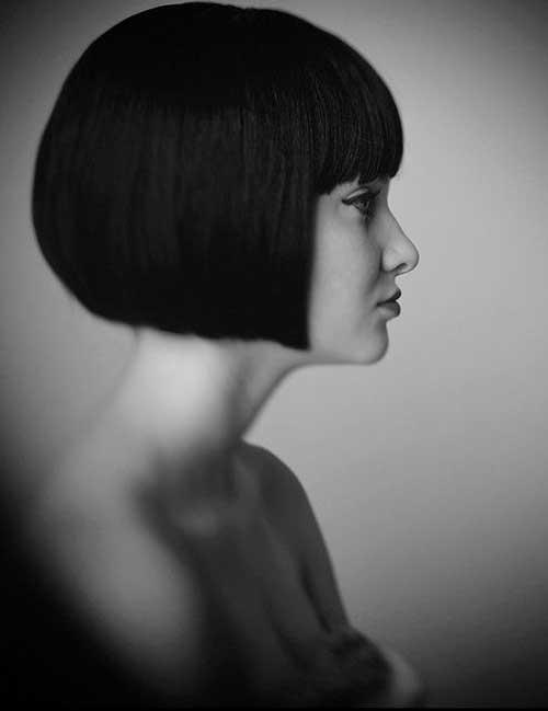 Short Cut with Dark Straight Hair Bangs