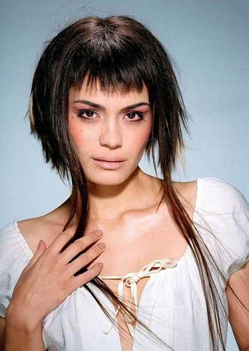 Short Straight Edgy Hairstyles with Bangs