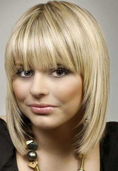 Straight Blon Medium Hairstyle With Bangs