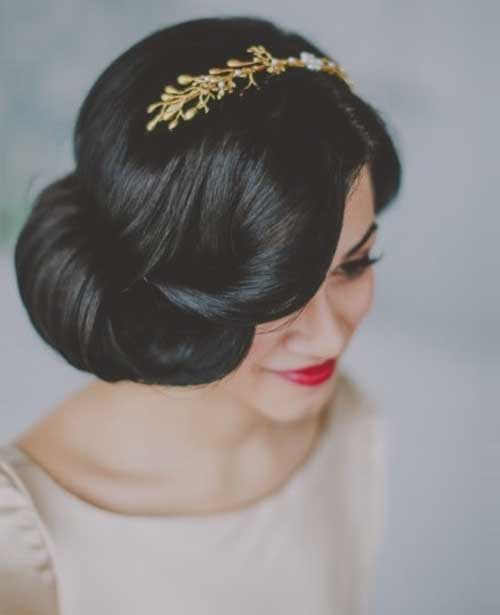 50s Short Dark Curly Updo Hairstyle