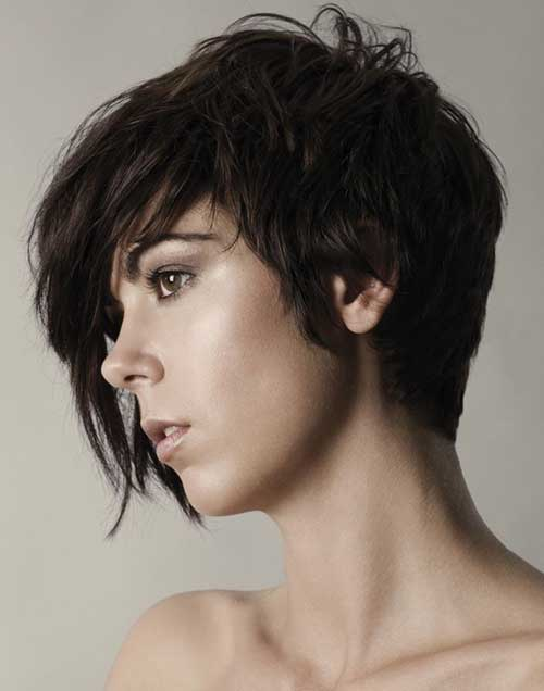 Asymmetric Long Dark Hair Pixie