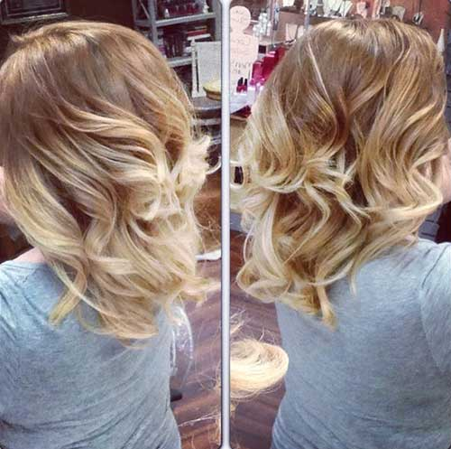 Short Blonde Ombre Bob with Waves