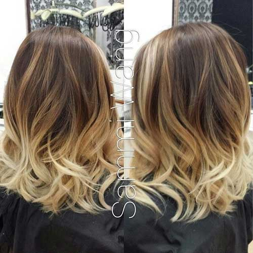Ombre Hair Brown To Caramel To Blonde Medium Length 20 Short Blonde...