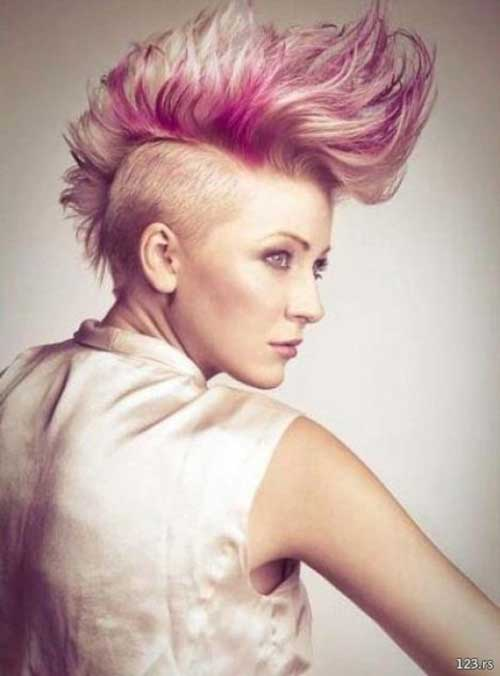 Blonde and Pink Short Mohawk Haircut