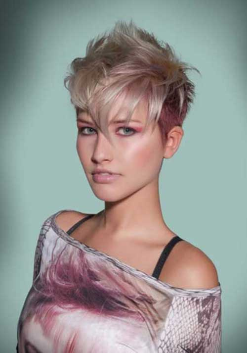 Blonde and Pink Short Pixie Haircut