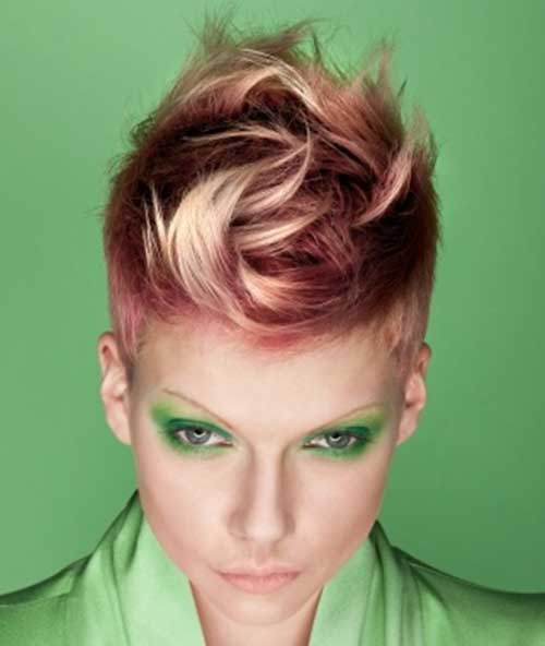 Blonde and Pink Short Spiky Pixie Haircut