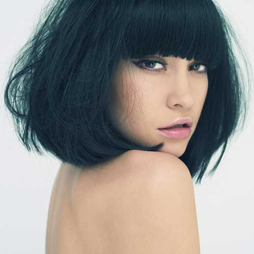 Blunt Bob Haircut with Bangs for Straight Thick Hair