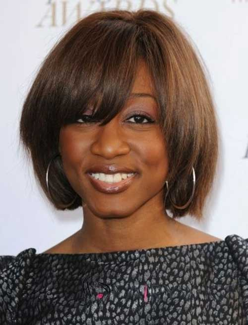 Short Bob Hairstyle with Bangs for Black Women Over 40