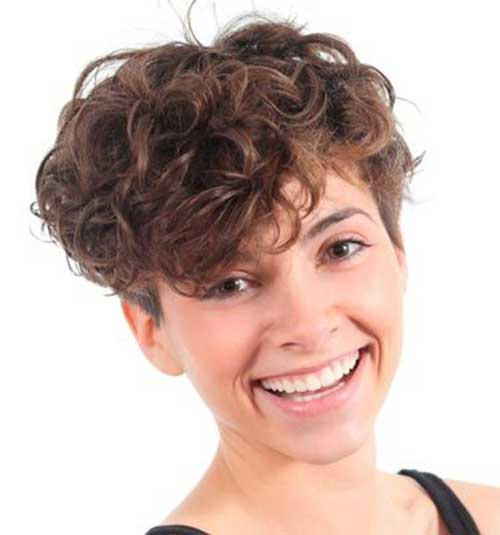 Nice Brown Curly Short Hair For Round Faces