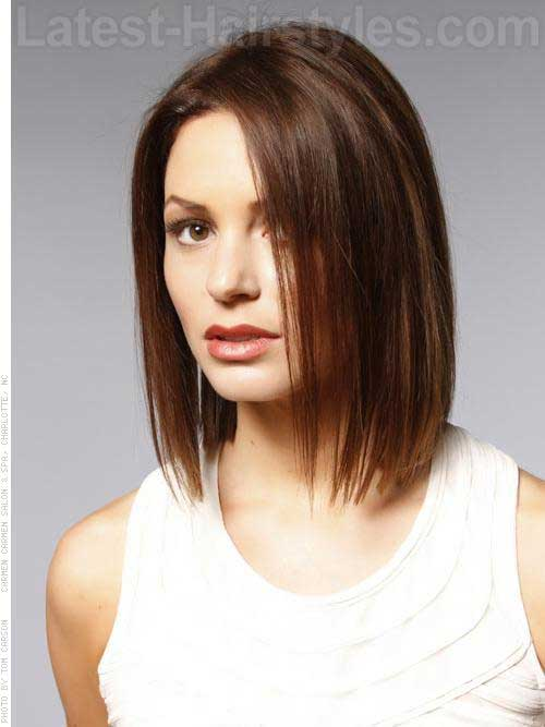 Brown Straight Line Bob Hair