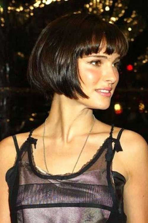 Brunette Bob Haircut with Bangs