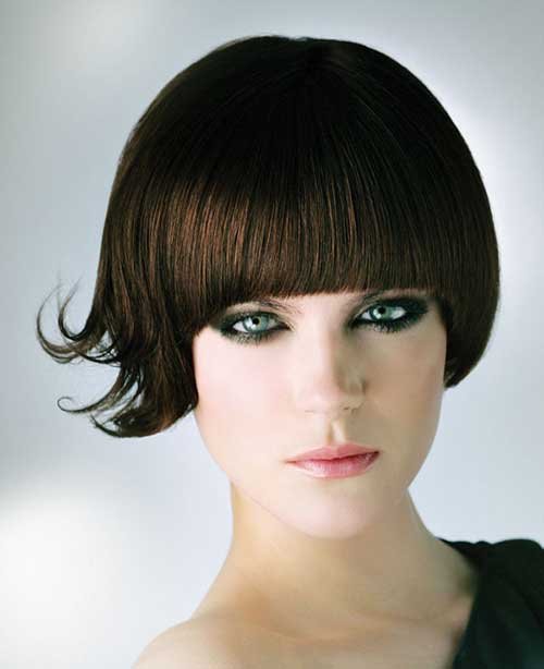 Brunette Bob with Bangs Hairstyles