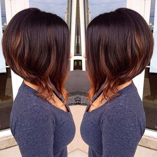 Brunette Bob Hairstyles with Highlights