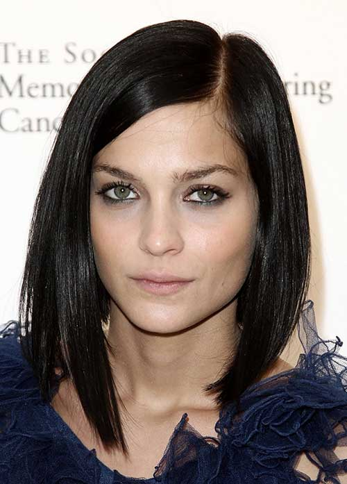 Brunette Straight Side Apart Bob Hairstyles 2014