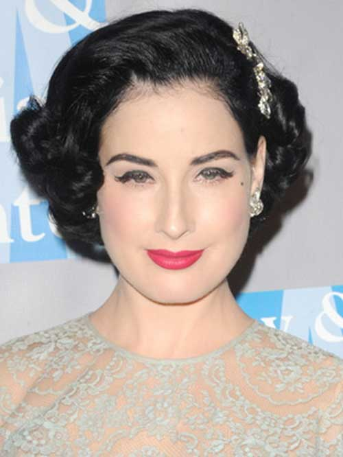 50s updo hairstyles : Dita Von Teese Short Hair